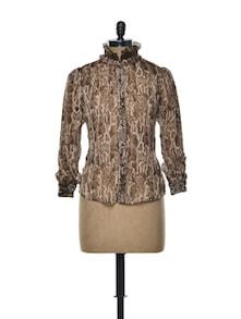 Brown Animal Print Shirt - CHERYMOYA