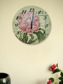 Vintage Paris Pink Flower Wall Clock - Kairos