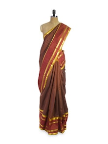 Brown And Gold Saree - Pratiksha