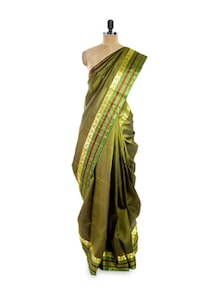 Sap Green Silk Saree - Pratiksha