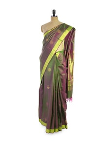 Purple And Green Silk Saree - Pratiksha