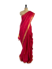 Eye-Catching Red And Gold Saree - Pratiksha