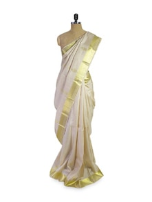 White And Gold Saree - Pratiksha
