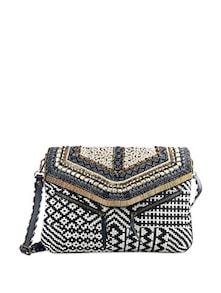Hand Embroidered Jacquard Cross Body Bag - Shaun Design
