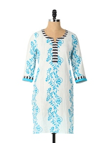 Blue Printed Long Sleeved Kurta - Aaboli