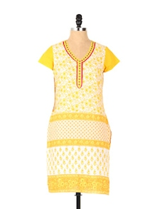 Sexy Yellow Printed Short Sleeved Kurta - Aaboli