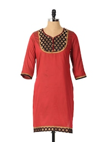 Hot Wine Colour Long Sleeved Kurta - Aaboli