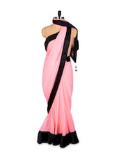 Pastel Pink Saree With Contrasting Black Border