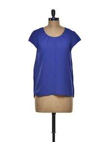 Pleated Royal Blue Polyester Top - I AM FOR YOU
