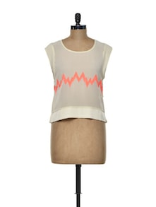 Neon Zigzag Ecru Top - I AM FOR YOU