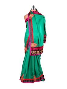 Embellished Green Satin Chiffon Saree - Fabdeal