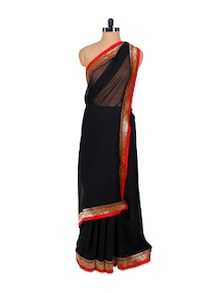 Black And Red Classy Saree - Fabdeal