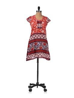 Block Printed Orange Kurti - JUGNU