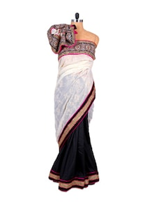 Timeless White And Black Saree - Fabdeal