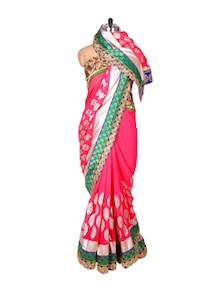 Pink And Green Chiffon Saree - Fabdeal