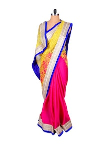Eloquent Elegance Pink And Yellow Saree - Fabdeal