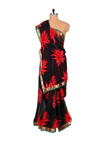 Black And Red Crush Georgette Saree - Fabdeal