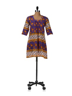 Purple Block Print Kurta With Pleated Yoke - JUGNU