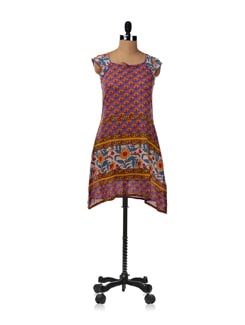 Purple Block Printed Cotton Kurti - JUGNU