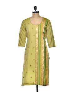Olive Green Kurta With Delicate Zari Work - Varan