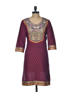 Floral Embroidered Kurta In Rich Purple - Varan
