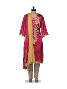 Embellished Satin Kameez With Brocade Salwar Set - Varan