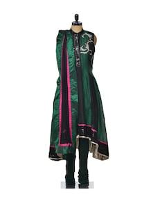 Sequinned Chanderi Set In Bottle Green - Varan