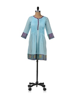 Sky Blue Kurta With A Pleated Silhouette - JUGNU