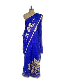 Royal Blue Organza Saree - Pothys