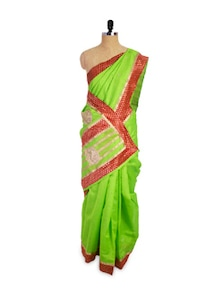 Green And Maroon Chanderi Cotton Saree - Pothys
