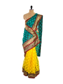 Yellow And Green Saree - Pothys