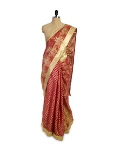 Dotted Red And Gold Saree - Pothys