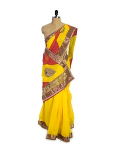 Yellow And Gold Saree - Pothys