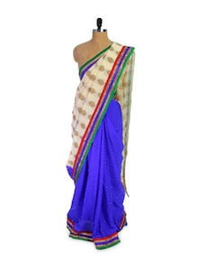 Blue Chiffon Saree With Off-White Pallu - Pothys