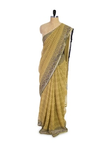Muted Yellow And Grey Chiffon Saree - Pothys