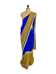Solid Blue And Yellow Chiffon Saree - Pothys