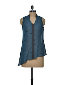 Stylish Blue And Black Top - Meira
