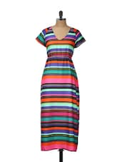 Multicoloured Striped Long Dress - Meira