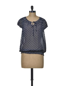 Blue And White Polka Dot Top - Meira