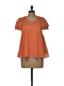 Bright Orange Chiffon Top - Tapyti