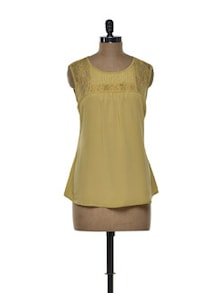 Muted Mustard Lace Yoke Top - Tapyti