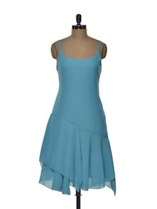 Strappy Turquoise Dress With Plunging Back - Tapyti