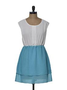 Turquoise-White Short Dress - Tapyti