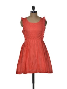 Ruffled Orange Skater Dress - Tapyti