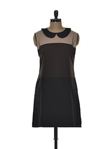 Zippered Dress With Peter Pan Collar - Tapyti
