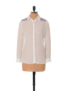 Floral Blue-on-white Embroidery Shirt - URBAN RELIGION