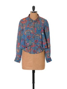 Blue Floral Long-sleeved Shirt - URBAN RELIGION