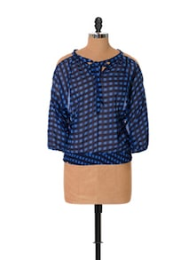 Knot Design Checkered Blue Top - URBAN RELIGION