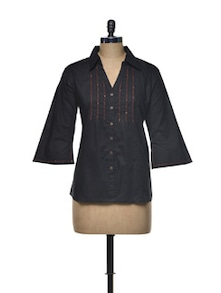 Elegant Black Cotton Shirt - Indie Cotton Route