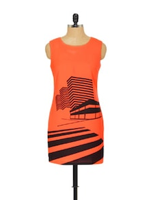 Orange And Black Printed Dress - EVogue.Me